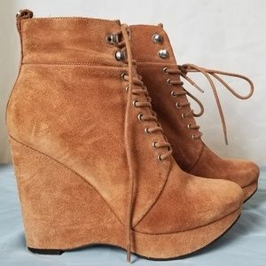 Tan suade wedges